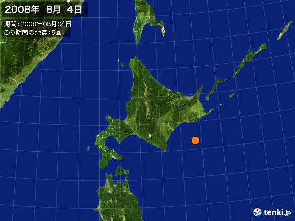 北日本・震央分布図(2008年08月04日)