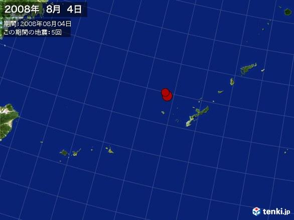 沖縄・震央分布図(2008年08月04日)