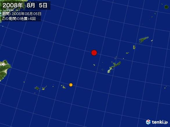 沖縄・震央分布図(2008年08月05日)
