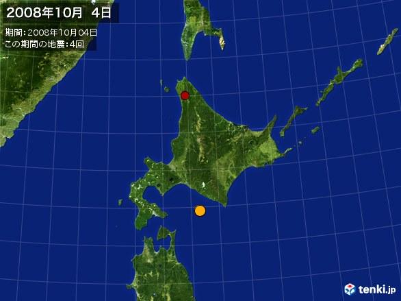 北日本・震央分布図(2008年10月04日)