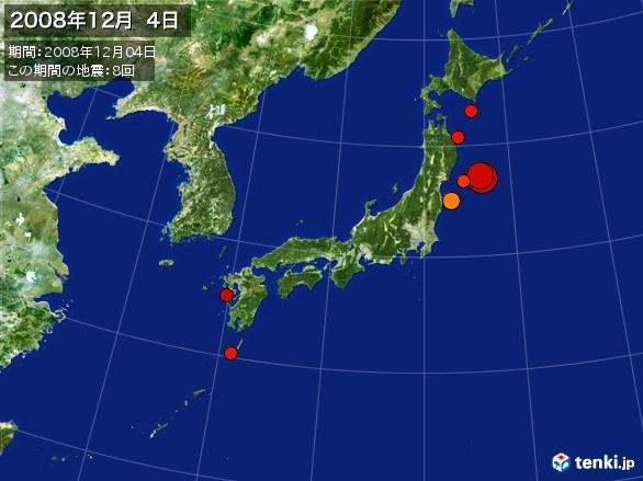 日本全体・震央分布図(2008年12月04日)