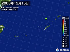 2008年12月15日の震央分布図