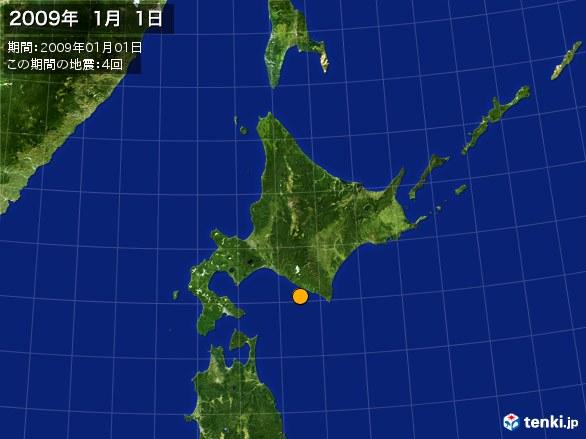 北日本・震央分布図(2009年01月01日)