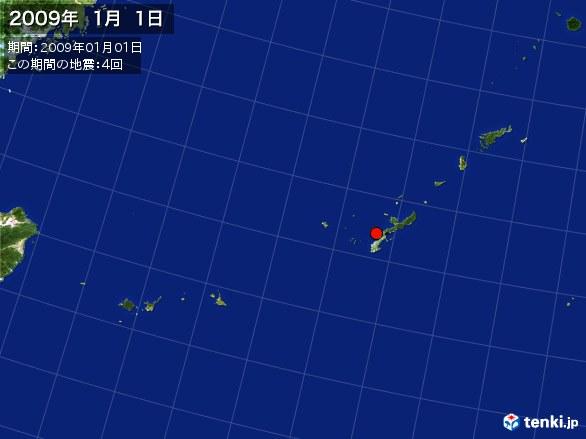 沖縄・震央分布図(2009年01月01日)