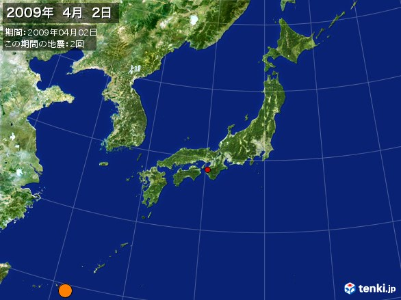 日本全体・震央分布図(2009年04月02日)