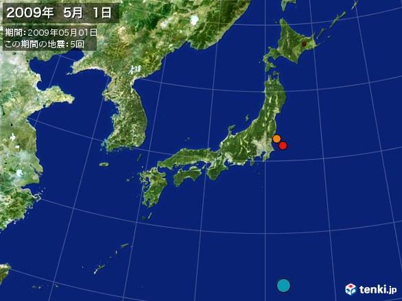 日本全体・震央分布図(2009年05月01日)