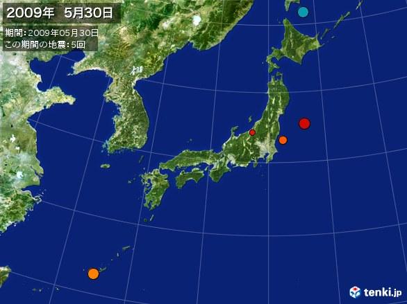 日本全体・震央分布図(2009年05月30日)