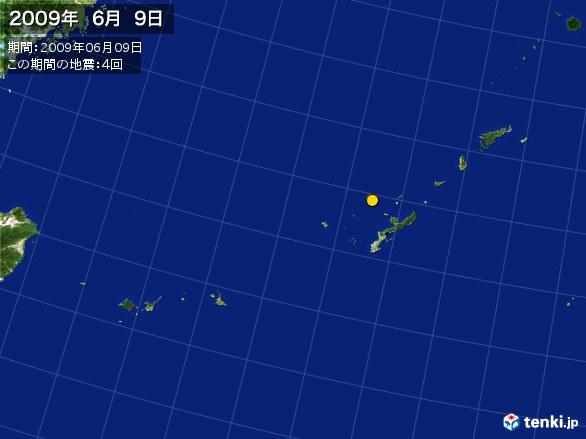 沖縄・震央分布図(2009年06月09日)