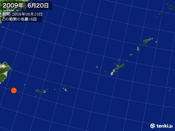 沖縄・震央分布図(2009年06月20日)