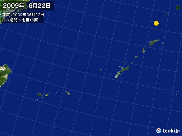 沖縄・震央分布図(2009年06月22日)