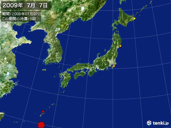 日本全体・震央分布図(2009年07月07日)
