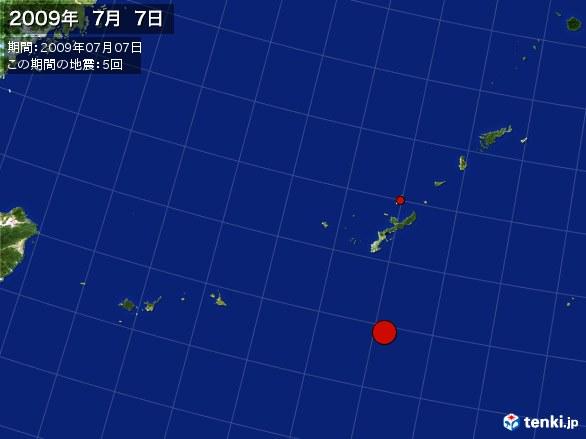 沖縄・震央分布図(2009年07月07日)