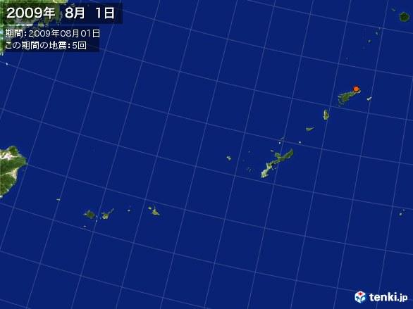 沖縄・震央分布図(2009年08月01日)