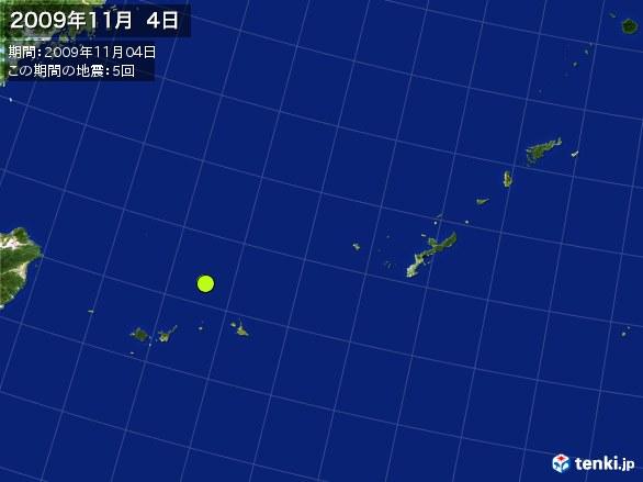沖縄・震央分布図(2009年11月04日)