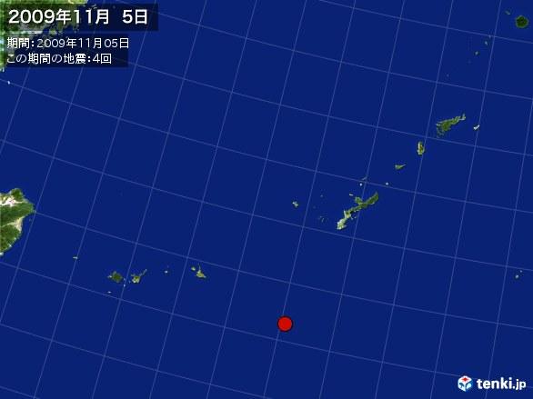 沖縄・震央分布図(2009年11月05日)