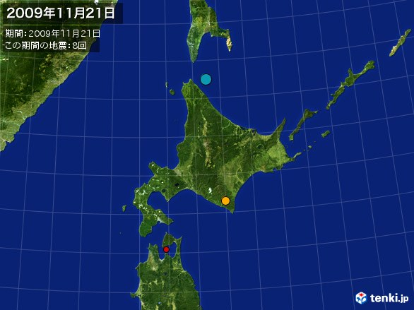 北日本・震央分布図(2009年11月21日)