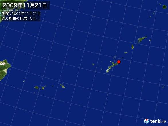 沖縄・震央分布図(2009年11月21日)