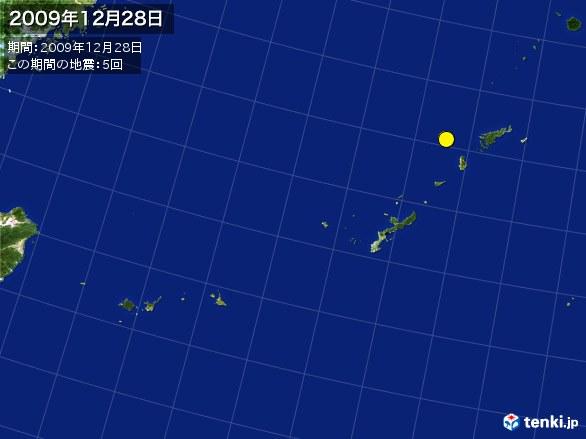 沖縄・震央分布図(2009年12月28日)