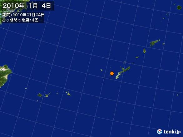 沖縄・震央分布図(2010年01月04日)
