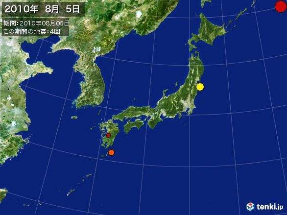 日本全体・震央分布図(2010年08月05日)