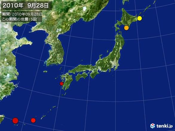 日本全体・震央分布図(2010年09月28日)