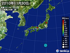 2010年11月30日の震央分布図