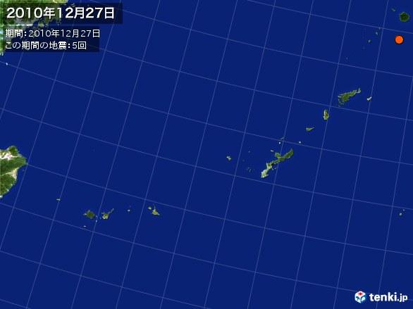 沖縄・震央分布図(2010年12月27日)