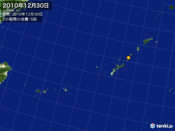 沖縄・震央分布図(2010年12月30日)