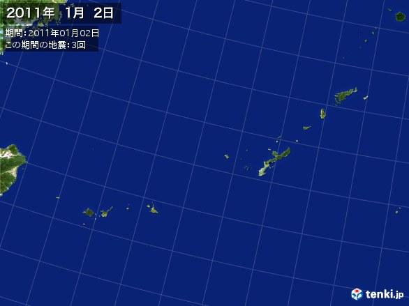 沖縄・震央分布図(2011年01月02日)