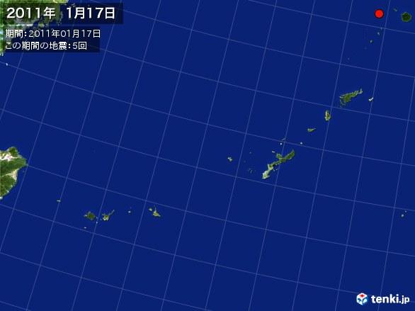 沖縄・震央分布図(2011年01月17日)
