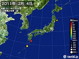 2011年02月04日の震央分布図