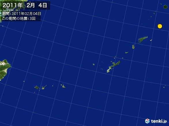 沖縄・震央分布図(2011年02月04日)