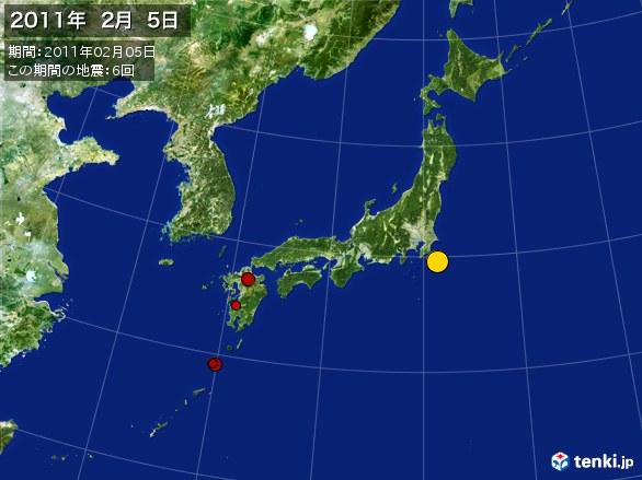 日本全体・震央分布図(2011年02月05日)