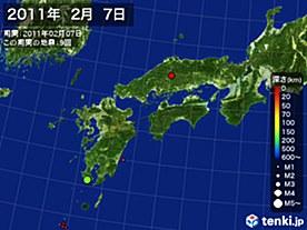 2011年02月07日の震央分布図
