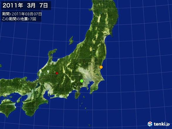 東日本・震央分布図(2011年03月07日)