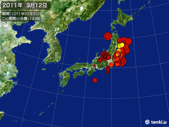 日本全体・震央分布図(2011年03月12日)