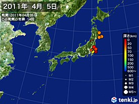 2011年04月05日の震央分布図