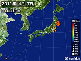 2011年04月07日の震央分布図