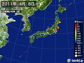 2011年04月08日の震央分布図