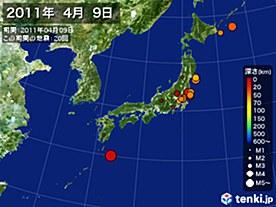 2011年04月09日の震央分布図