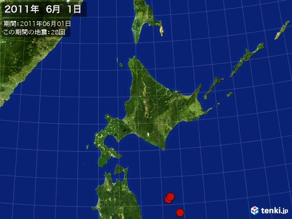 北日本・震央分布図(2011年06月01日)