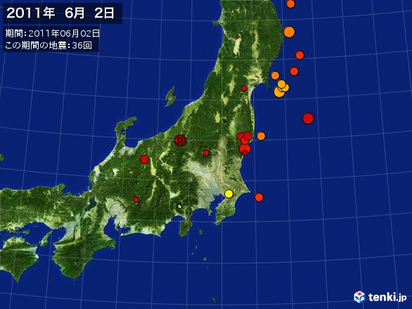 東日本・震央分布図(2011年06月02日)