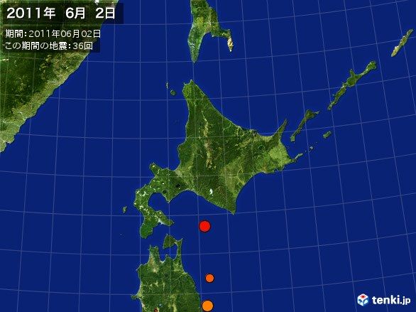 北日本・震央分布図(2011年06月02日)