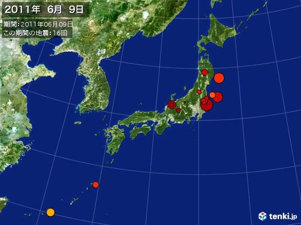 日本全体・震央分布図(2011年06月09日)