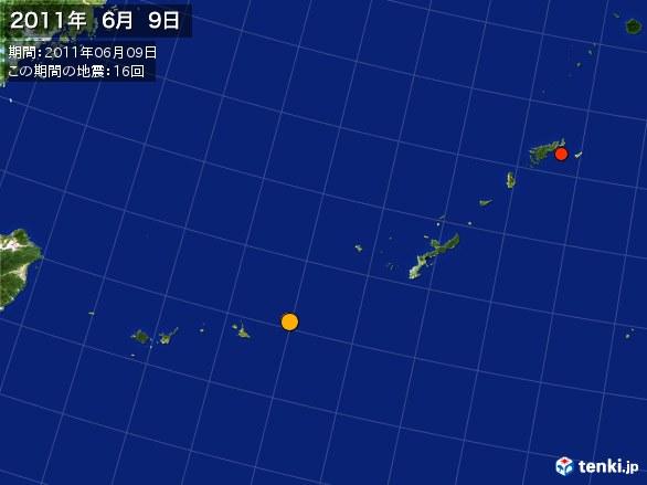沖縄・震央分布図(2011年06月09日)