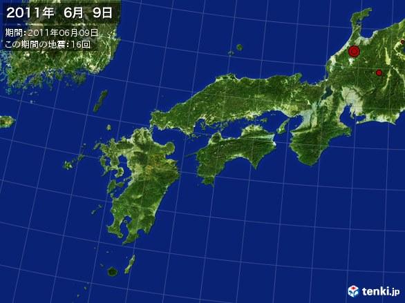 西日本・震央分布図(2011年06月09日)
