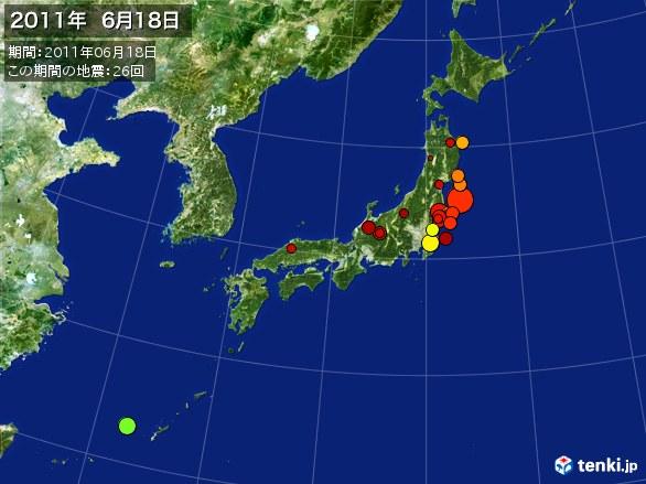 日本全体・震央分布図(2011年06月18日)