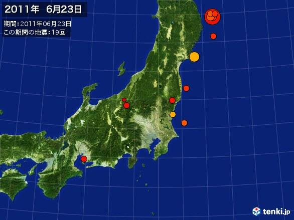 東日本・震央分布図(2011年06月23日)