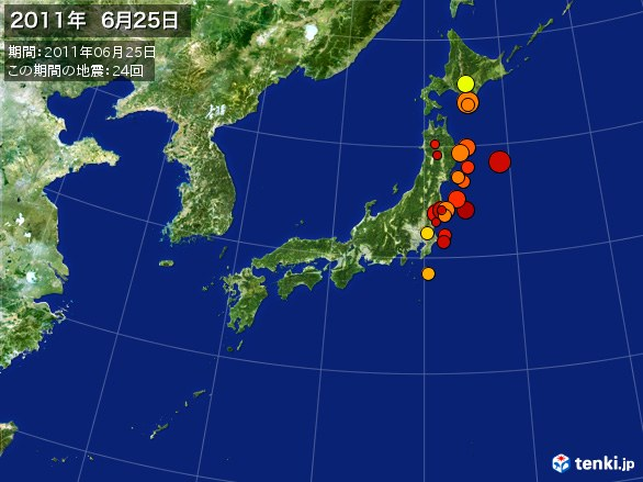 日本全体・震央分布図(2011年06月25日)