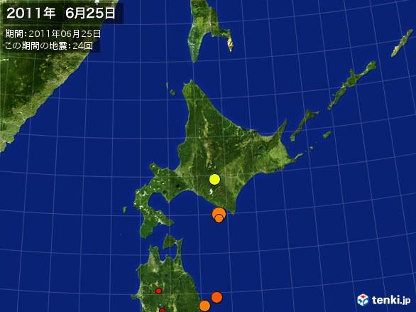 北日本・震央分布図(2011年06月25日)